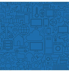 Thin line internet of things seamless dark blue vector