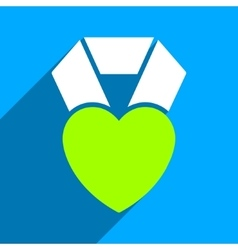 Heart award flat square icon with long shadow vector