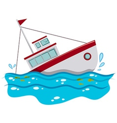 Fishing boat sinking in the ocean vector