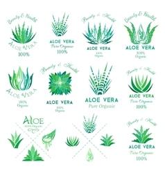 Aloe vera design elements Emblems collection vector image