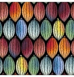 Watercolor cocoa fruits pattern vector