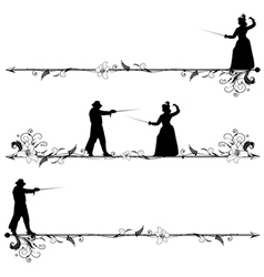 Fencing people vector