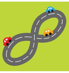 Background with road in shape of infinity sign car vector image