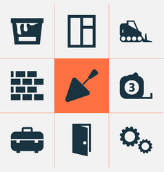 Building icons set collection of tractor paint vector