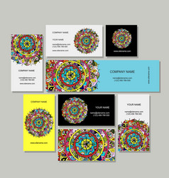 business cards design floral mandala vector image vector image
