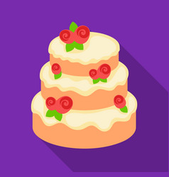 Cake with roses icon in flate style isolated on vector
