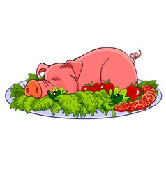 cartoon pig on a plate with vegetables vector image