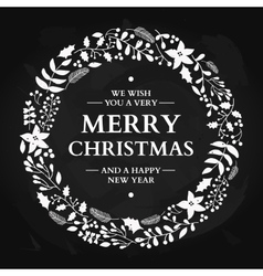Christmas doodle wreath with greeting vector image