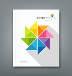 Cover annual report colorful windmill paper vector