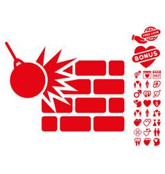 Destruction icon with valentine bonus vector