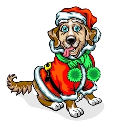 Dog in the image of santa claus vector