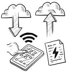 Doodle pad cloud file upload download vector