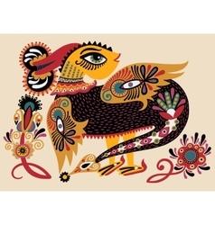 Ethnic fantastic animal doodle design in karakoko vector