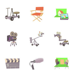 filming icons set cartoon style vector image vector image
