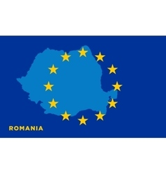 Flag of European Union with Romania on background vector image