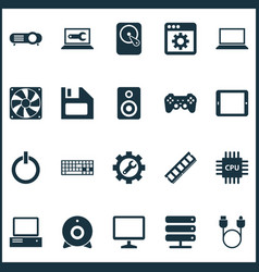 Gadget icons set with desktop wrench palmtop and vector