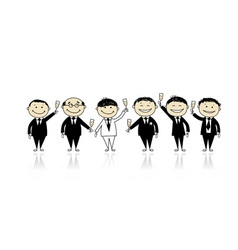 Groom with friends stag party for your design vector image vector image