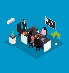 Isometric business teamwork concept vector