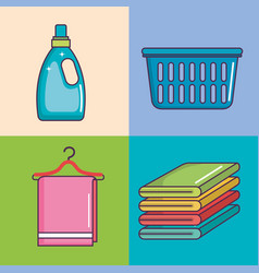 Laundry and cleaning domestic housekeeping set vector