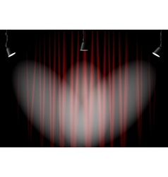Lighting stage with red curtains vector image vector image