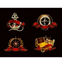 Marine Emblem set on black vector image