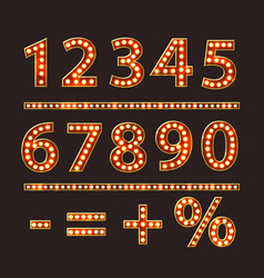 Numbers with bulb lamps red light vector