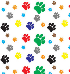 Pattern color dog animal foot print vector image