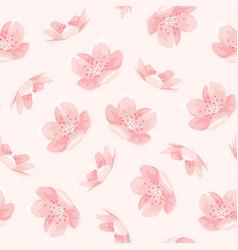 Pink cherry sakura japanese spring flowers pattern vector
