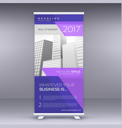 purple standee roll up banner design template vector image vector image