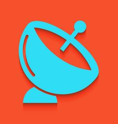 Satellite dish sign whitish icon on brick vector