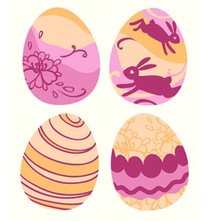 set of 4 colored Easter eggs vector image