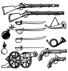 Set of ancient weapon muskets saber cannons bombs vector