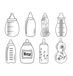 set of baby bottles in eps 10 vector image vector image