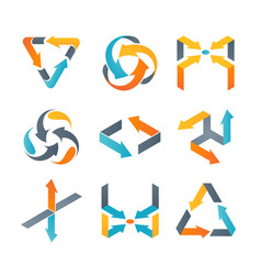Set of different colorful arrows isolated vector