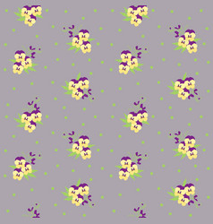 small tiny yellow and violet pansy flowers vector image vector image