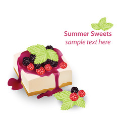 Summer sweet cheesecake with berry fruits syrop vector