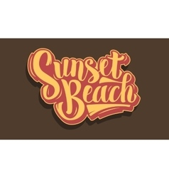 Sunset beach brush script lettering type design vector