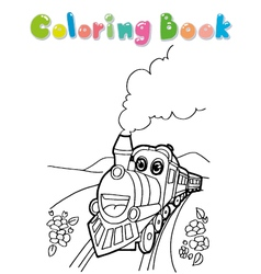 train coloring book vector image vector image
