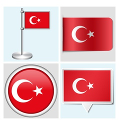 Turkey flag - sticker button label flagstaff vector image vector image