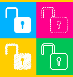 Unlock sign four styles of icon on vector