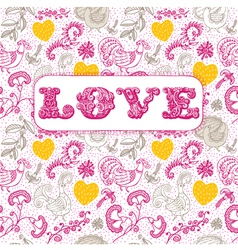 Vintage floral love background vector image