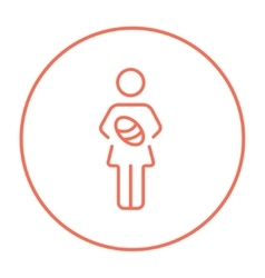 Woman holding baby line icon vector image vector image