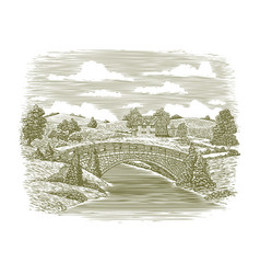 woodcut bridge scene vector image