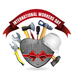 1 may international workers day card vector
