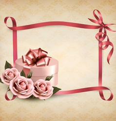 Holiday background with three roses and gift box vector
