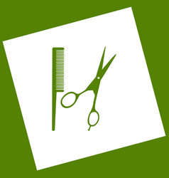 Barber shop sign  white icon obtained as a vector