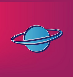 Planet in space sign  blue 3d printed icon vector