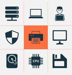 Laptop icons set collection of desktop printing vector