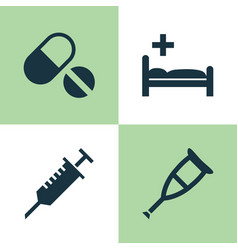 Drug icons set collection of pills peck vector