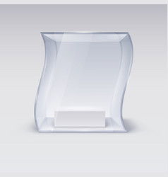 Glass showcase in wave form for presentation on vector